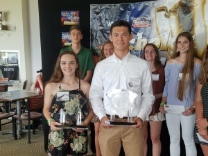 Pocomoke's Peyton Becker (left) and Caesar Rodney's Tommy Pomatto (right) are the 2017-18 Overall Female and Male winners of the WBOC Mountaire Farms Scholar Athlete.