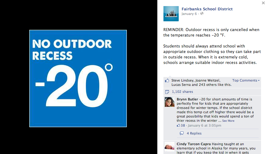 """""""Cold? What cold?""""  – Schools in Fairbanks, Alaska Give Notice To The Elements"""