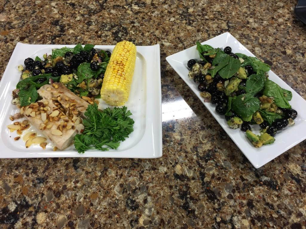 Seared Mahi Mahi & Fresh Blueberry Salad with The Greenhouse Cafe