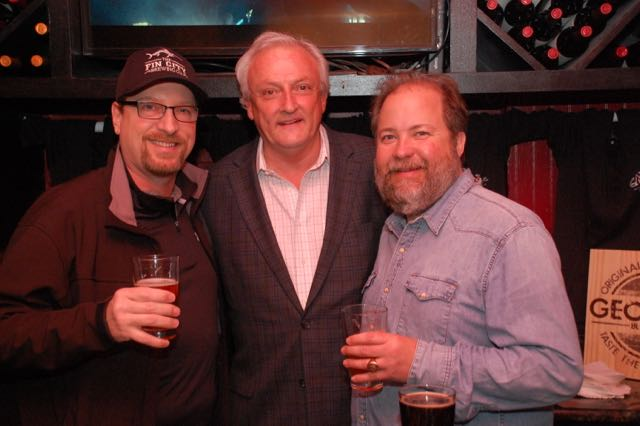 Vince Wright of Fin City Brewing just released his newest locally brewed beer at the Globe. He enjoys one of them here with Sen. Jim Mathias, John Knorr of Evolution Craft Brewing after the announcement of Febrewary: Maryland Craft Beer Lovers Month. (Courtesy: Shore Craft Beer)