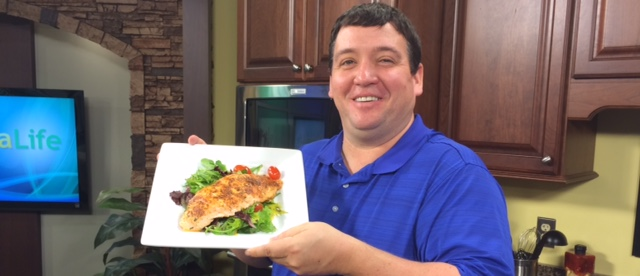 Sponsored Advertising Content by Ocean City Fish Company – Blackened Salmon over a Mixed Greens Salad