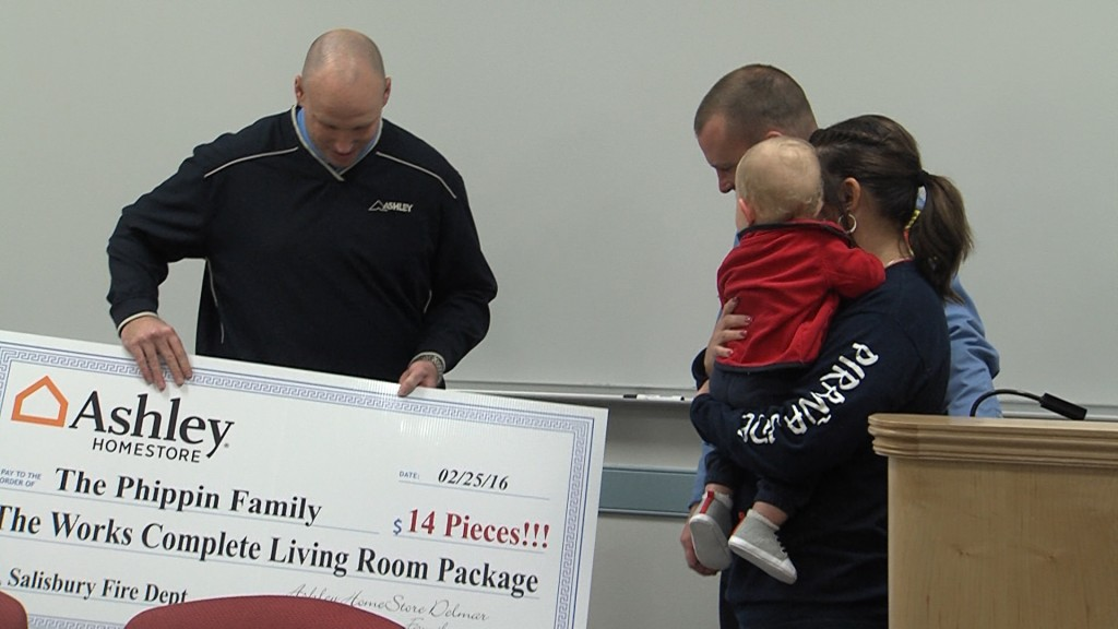 Ashley Furniture Store Surprises Hebron Family, Displaced from Home
