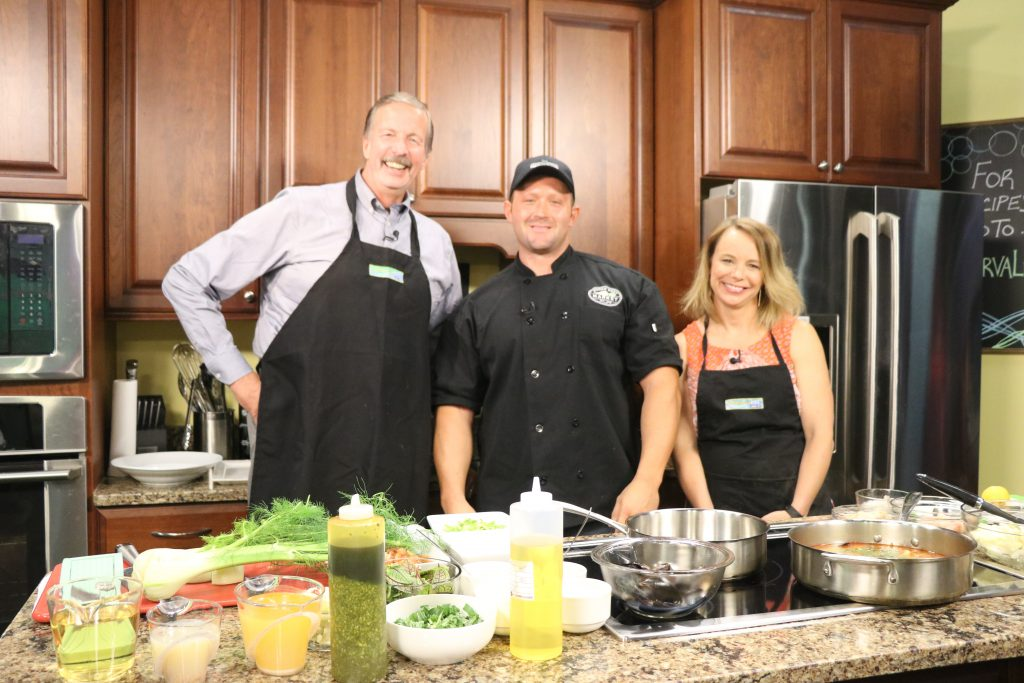 Chef Frank Dubinski with Passwaters Restaurant at Heritage Shores Makes Seafood Cioppino and Seared Tuna Nicoise