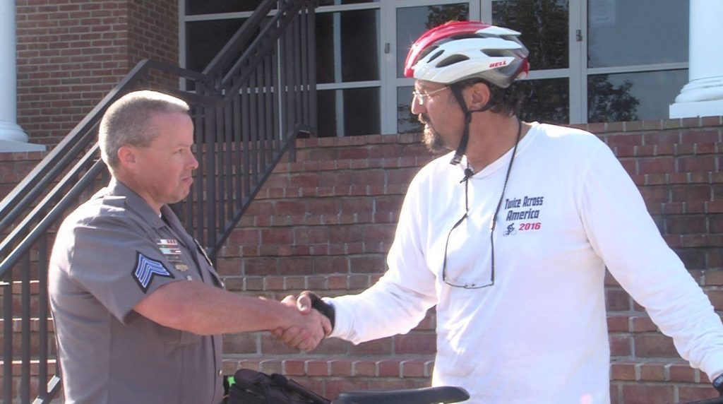 Cyclist Visits Salisbury, Dover on Cross Country Ride to Thank Police