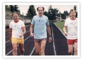 Gordy Klatt walks around track in 1985 (Photo: Relay For Life)
