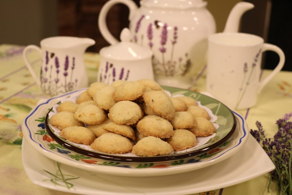 Lavender Sugar Cookies and Roasted Provincial Potatoes with Lavender Fields, Del.
