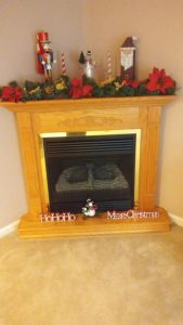 The Dickerson family's fireplace.