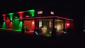 Holiday house light display, by Robert Davis of Felton, Delaware.