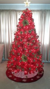 Red tree - a Turner family Christmas. Photo sent in by Adam Wilson.