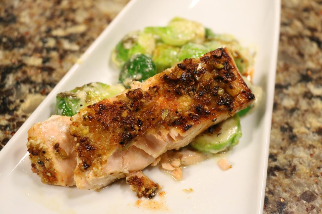 Pistachio Crusted Salmon and Creamy Brussels Sprouts: DelmarvaLife Facebook Live Recipes – Oct. 17, 2017