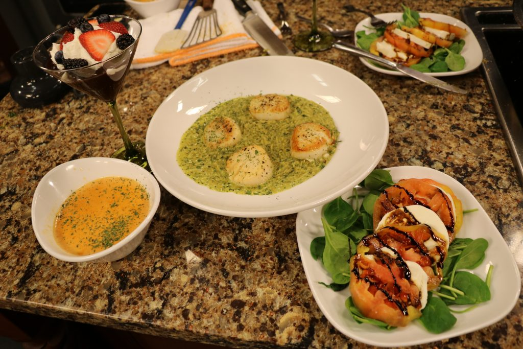 Lobster Bisque, Spinach and Caprese Salad, Seared Sea Scallops with Orzo Pesto Pasta, and Ganache Parfait with The Brick Hotel: DelmarvaLife Facebook Live Recipes – Feb. 7, 2018