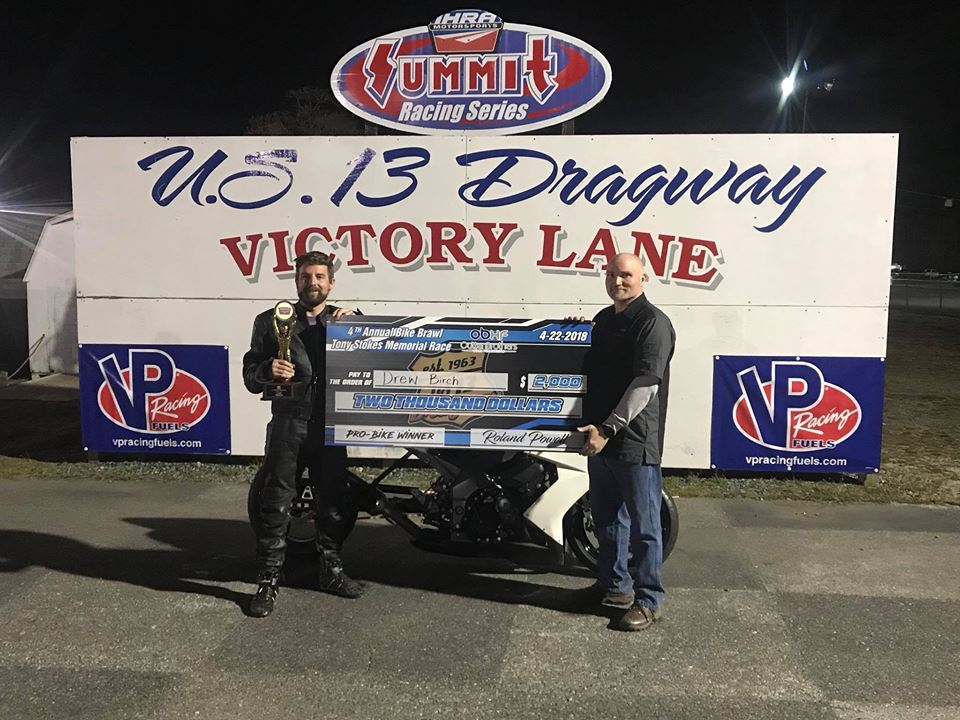 Birch Takes Outten Brothers Bike Brawl Win at U. S. 13 Dragway
