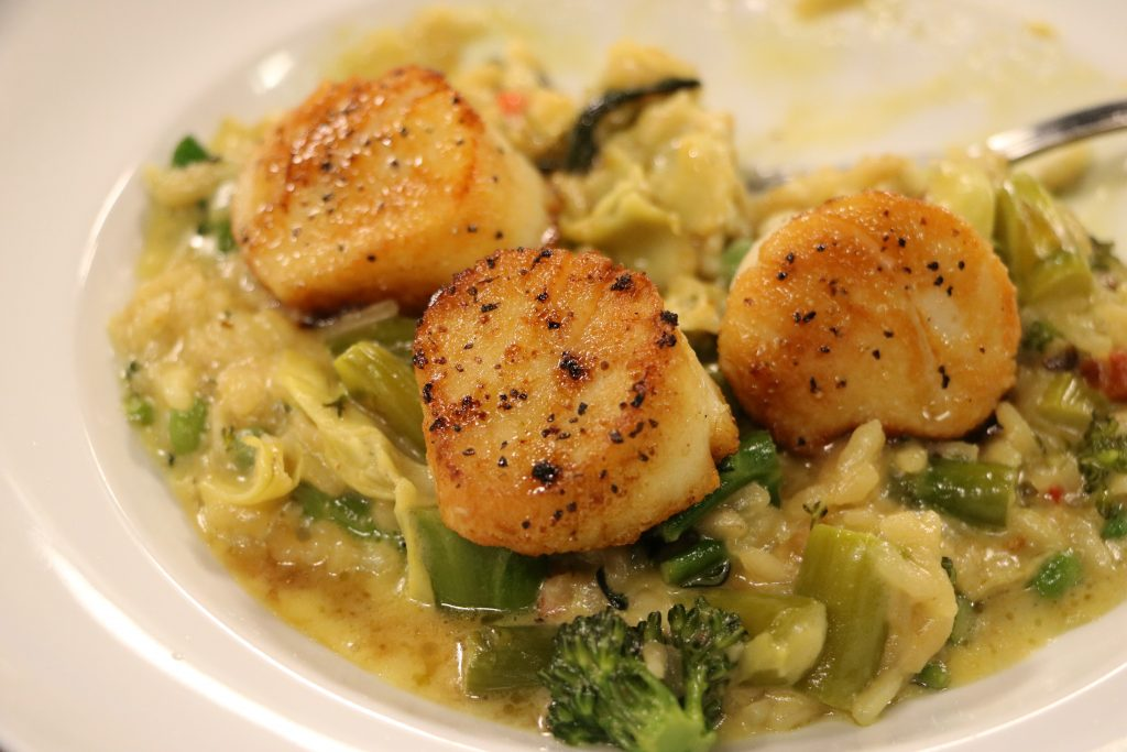Vegetable Risotto with Scallops and Chipotle Flan with G
