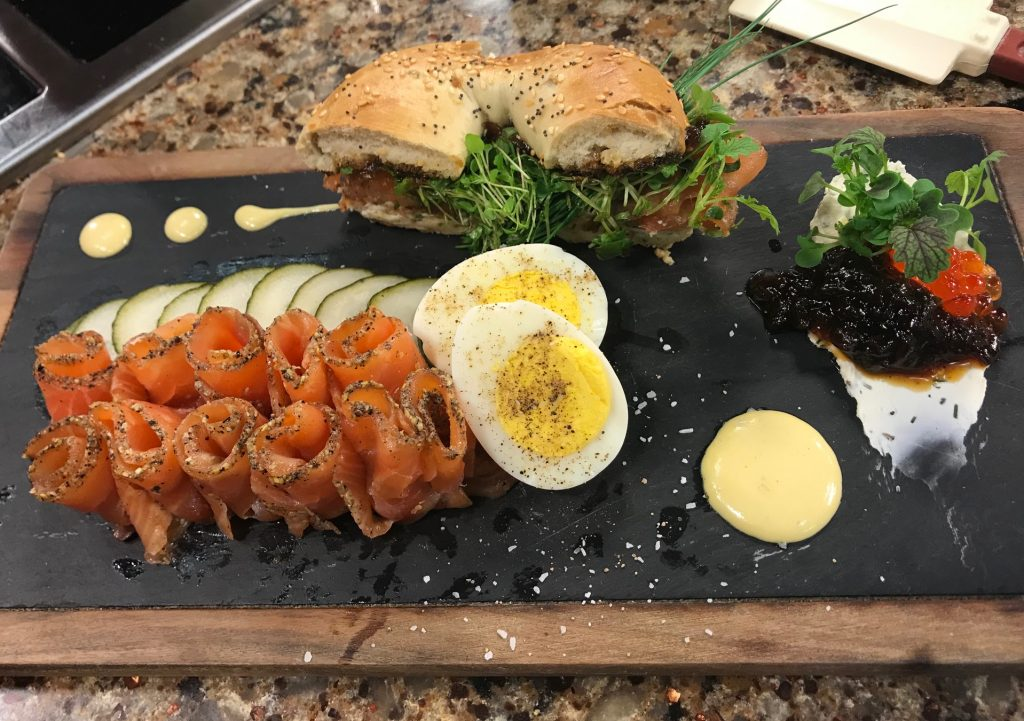 Gravlax, Herb Cream Cheese, and Shallot Marmalade with The Local