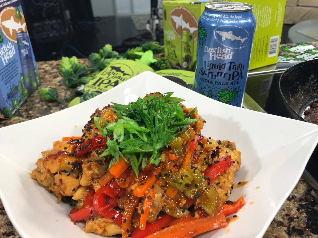 Asian Stir Fry Wings with Stir Fry Vegetables and Lupa-Luau Shrimp Tacos with Dogfish Head Brewings and Eats