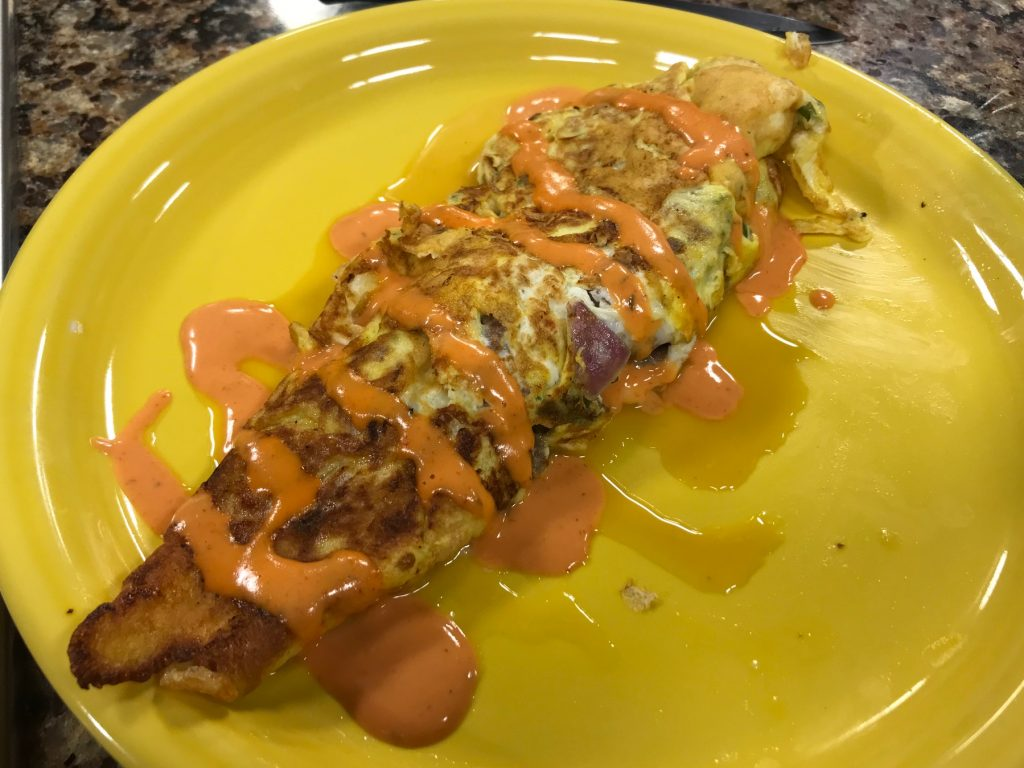 French Toast and Cheesesteak Egg Roll-Up with Beach Road Round-Up