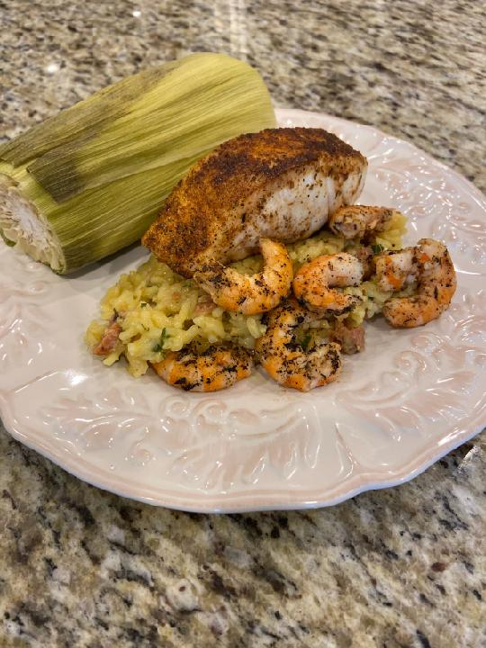 Rockfish, Shrimp, and Rice with The Shrimp Boat
