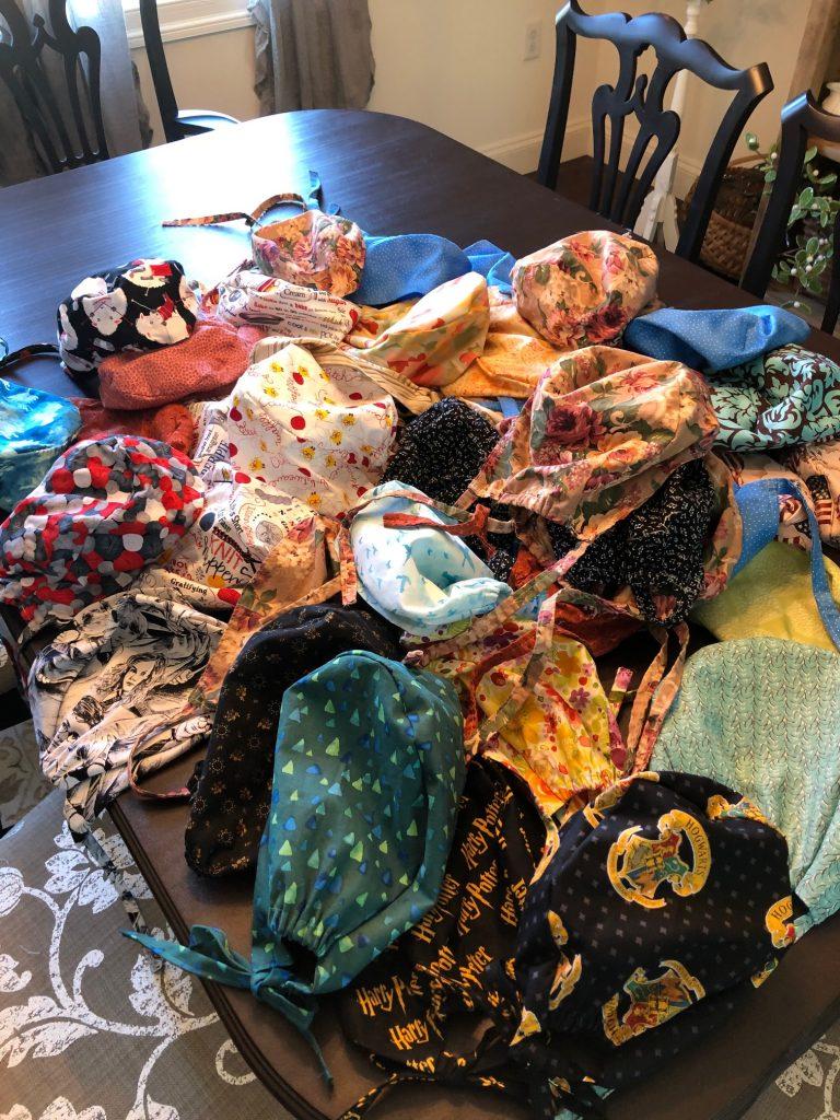 Seaford Lioness Club Making Scrub Caps for Delmarva Nurses