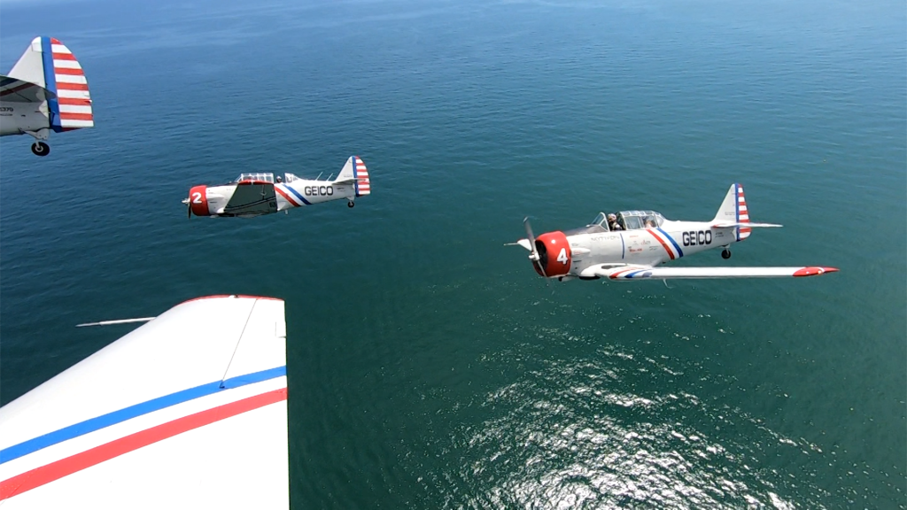Corey Flies with The Geico Skytypers