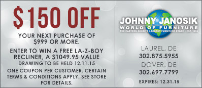 Johnny Janosik Coupon: $150 Off Your Purchase